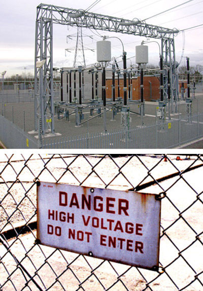 Switchyard and Danger Sign